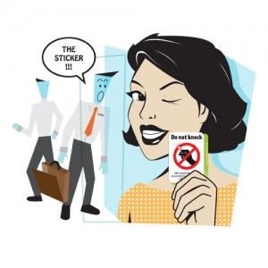 Woman with Do Not Knock sticker